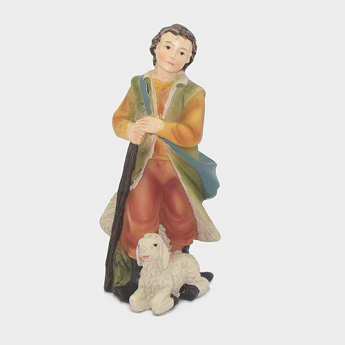 Krippenfigur Jungbauer mit Schaf