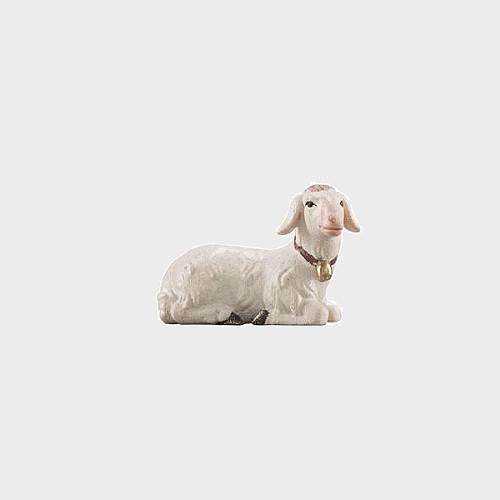 Advent 253 Krippenfigur aus Eschenholz Schaf liegend rechtsschauend