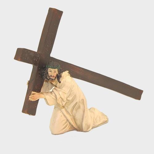 Passionsfiguren Jesus unter dem Kreuz 9cm