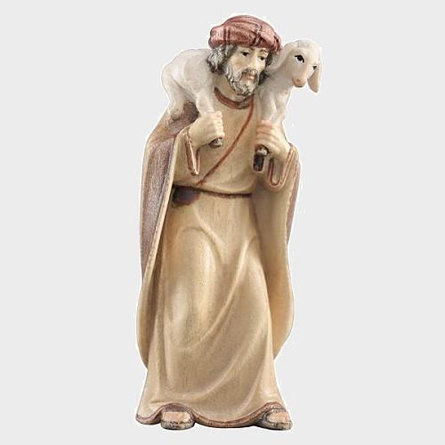Advent 019 Krippenfigur aus Eschenholz Hirte mit Lamm auf Schulter