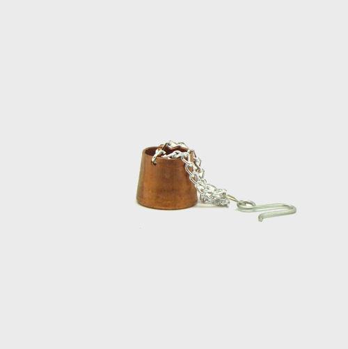 Krippendekoration Kupfertopf mit Kette