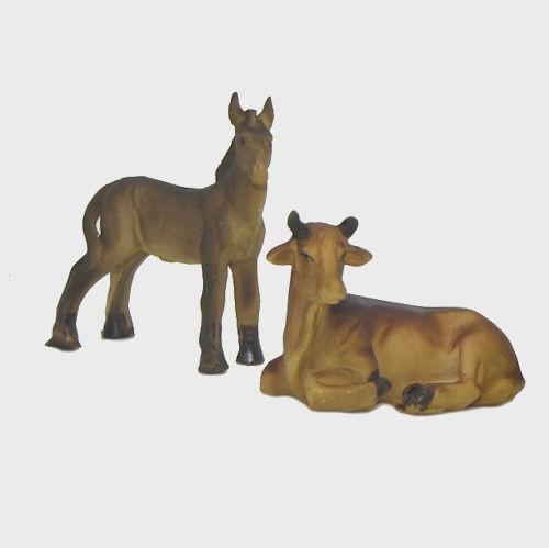 Krippenfigur Ochse und Esel im Set