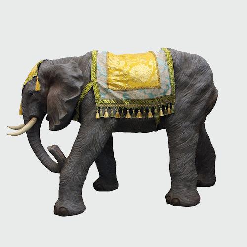 Krippenfigur Elefant mit Decke 38cm hoch