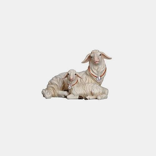 Handbemalte Kostner 272 Krippenfigur Schaf liegend mit Lamm
