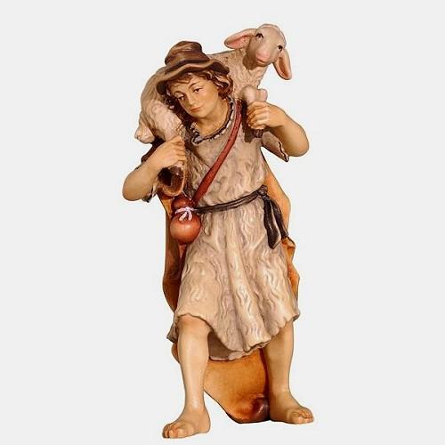 Handbemalte Kostner 084 Krippenfigur Hirte mit Schaf auf Schulter