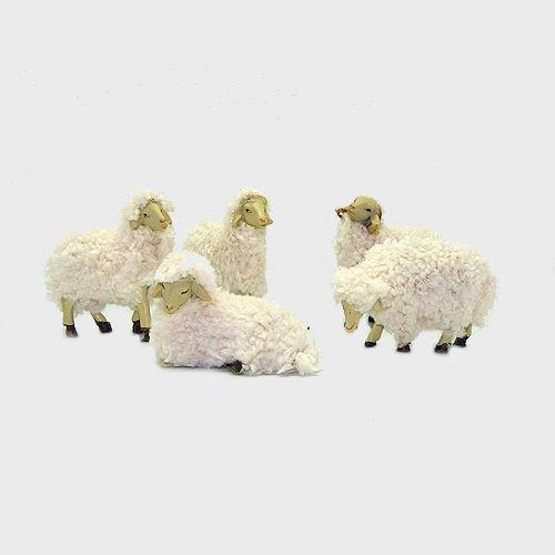 Krippenfigur Schafe mit Wolle