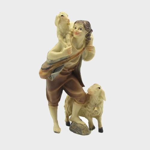 Krippenfigur Hirte mit zwei Schafen