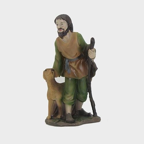 Krippenfigur aus Kunstharz Hirte mit Hund