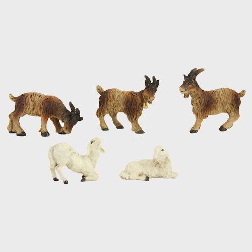 Krippenfigur Ziegen und Schafe im Set