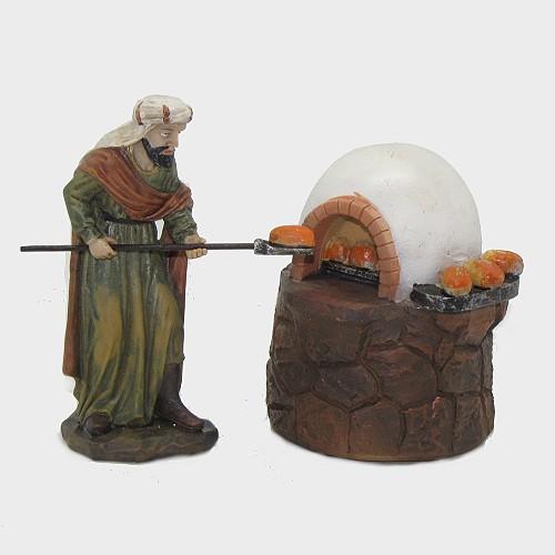 Krippenfigur Bäcker mit Backofen
