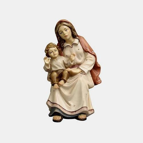 Handbemalte Kostner 018 Krippenfigur Hirtin sitzend mit Kind