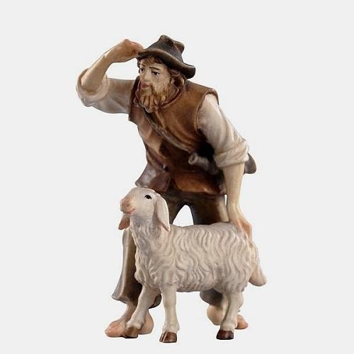 Handbemalte Kostner 035 Krippenfigur Hirte stehend mit Schaf