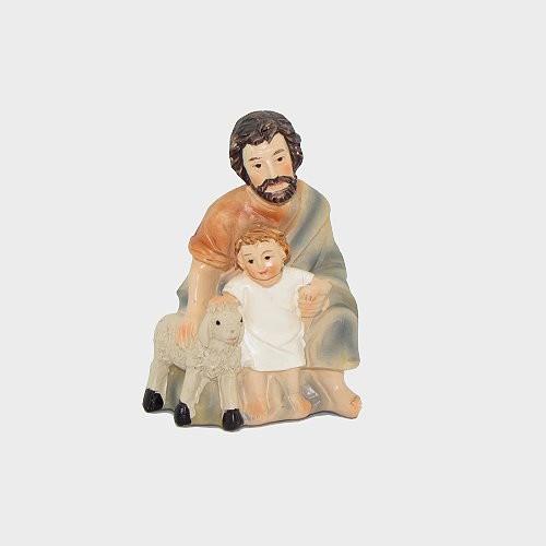 Krippenfigur Schäfer kniend mit Kind