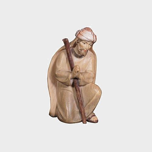 Advent 018 Krippenfigur aus Eschenholz Hirt kniend betend
