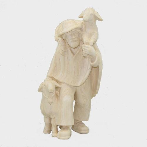 PEMA 046 Natur Krippenfigur Hirte mit zwei Schafe