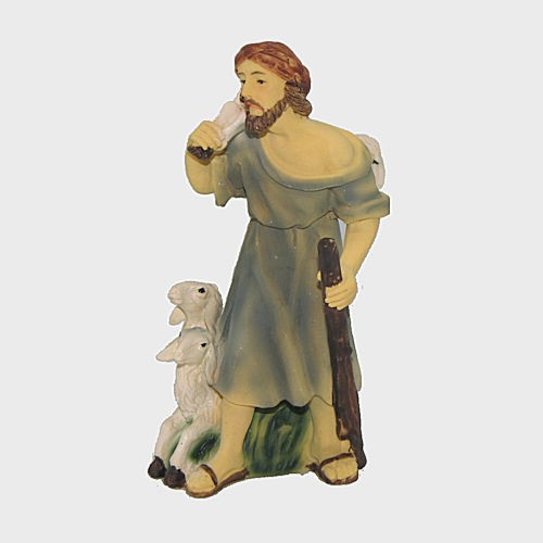 Krippenfigur Hirte mit drei Schafe