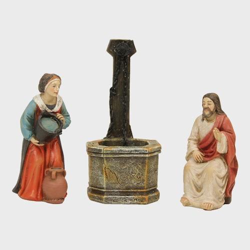 Passionsfiguren Jesus und die Samariterin am Jakobsbrunnen 9cm