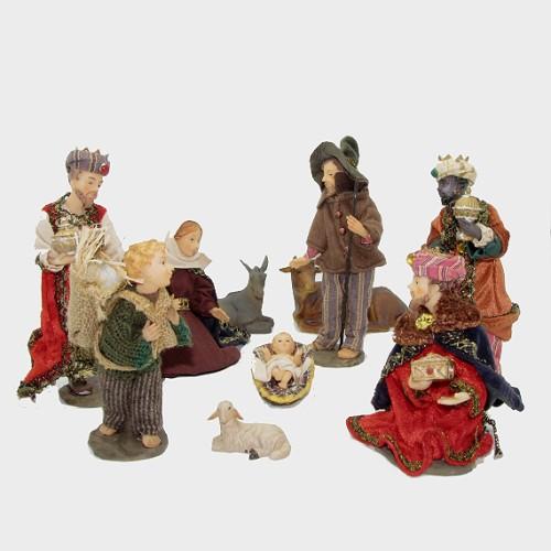 Krippenfiguren heimatlich bekleidet 10tlg. 17cm