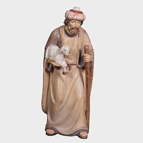 Advent 025 Krippenfigur aus Eschenholz Hirte mit Stock und Lamm im Arm