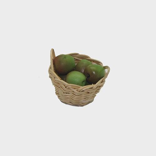 Krippendekoration Korb mit Äpfel