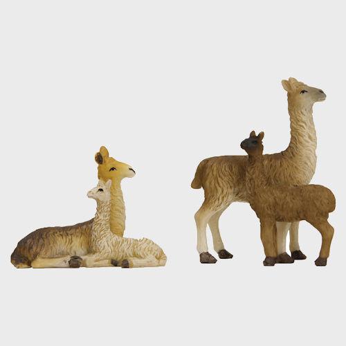 Krippenfiguren aus Kunstharz Lamas