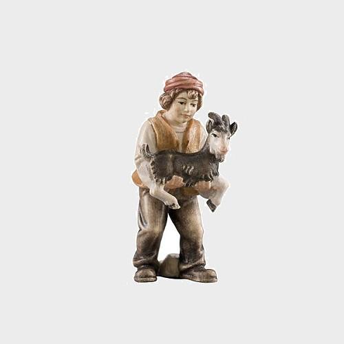 Advent 016 Krippenfigur aus Eschenholz Bub mit Ziege im Arm
