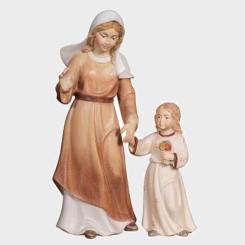 Advent 021 Krippenfigur aus Eschenholz Hirtin mit Mädchen