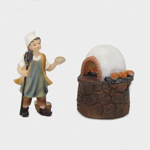 Krippenfigur Bäckerjunge mit Backofen