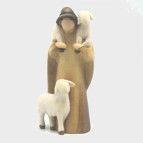 Leonardo 910046 Color Krippenfigur Hirt mit 2 Schafe