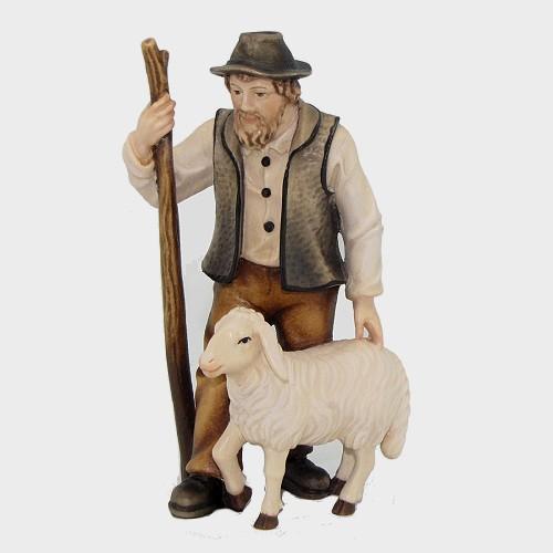 Mahlknecht 033 Krippenfigur Hirte mit Schaf und Stock