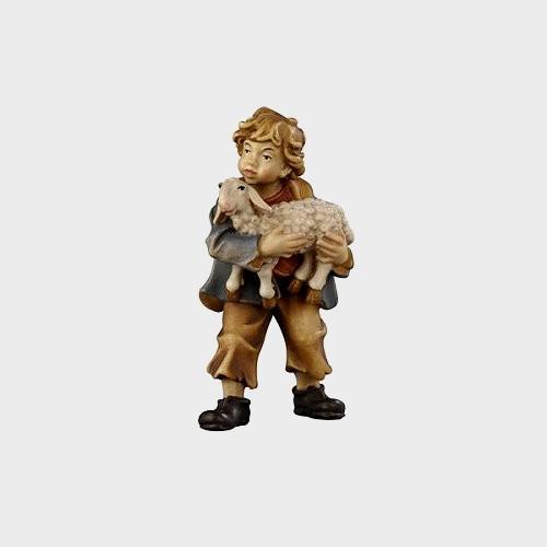 Rainell 026 Krippenfigur Bub mit Lamm im Arm