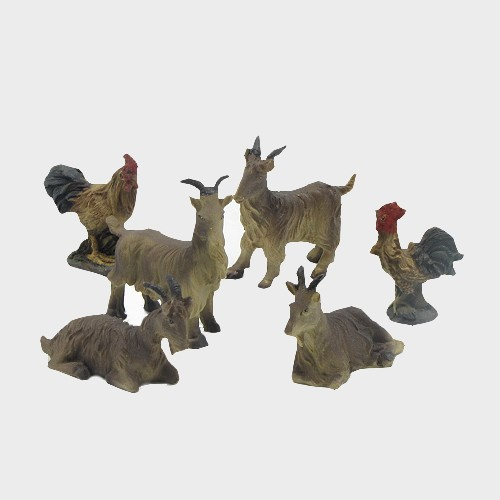 Krippenfiguren Ziegen und Hühner