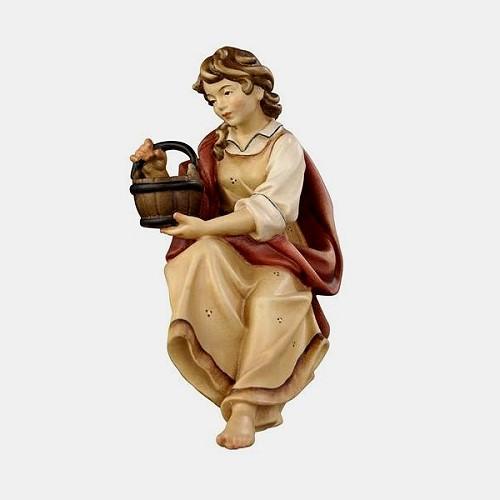 Handbemalte Kostner 031 Krippenfigur Hirtin für Brunnen