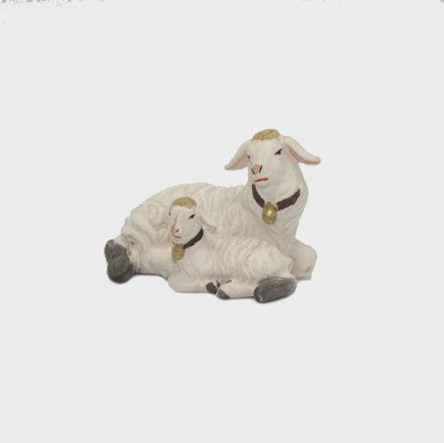 Zirbel 272 Krippenfigur Schaf liegend mit Lamm