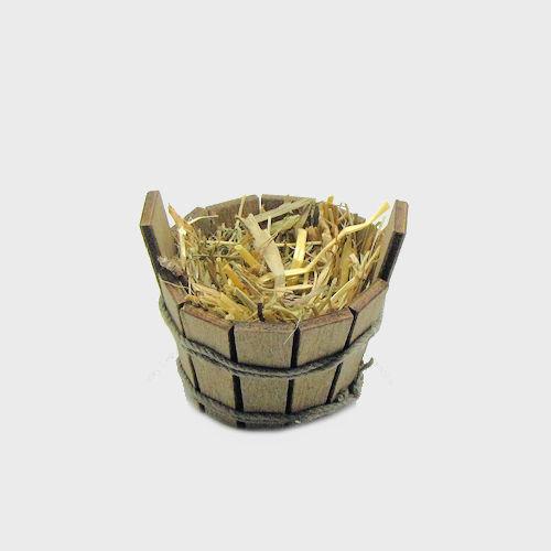 Krippendekoration Futtertrog aus Holz mit Heu 3cm hoch