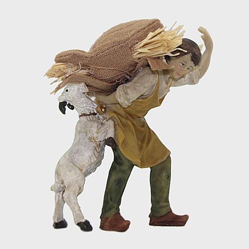 Krippenfigur Knecht mit Strohsack und Ziege