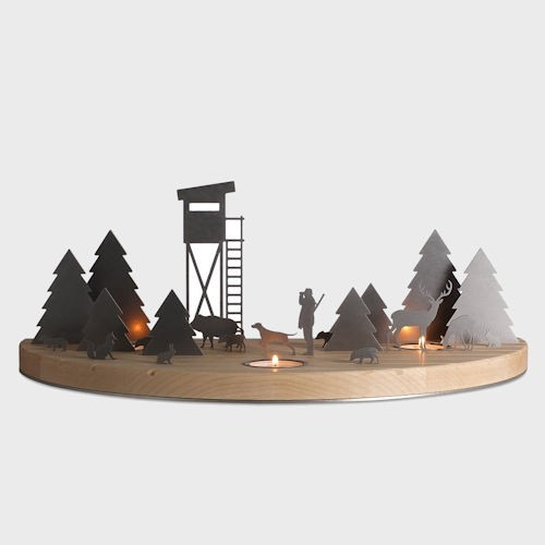 Silhouette L Winterlandschaft Ahorn / Edelstahl