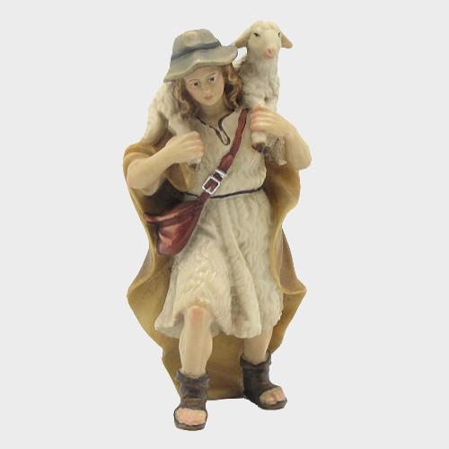 Mahlknecht 019 Krippenfigur Hirte mit Lamm auf Schulter