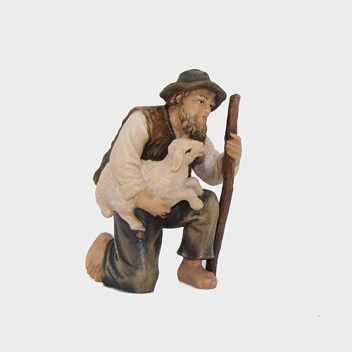 Rainell 038 Krippenfigur Hirte kniend mit Lamm im Arm