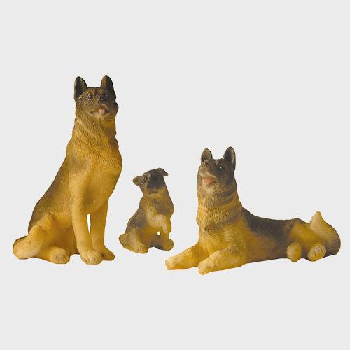 Krippenfiguren Schäferhundfamilie