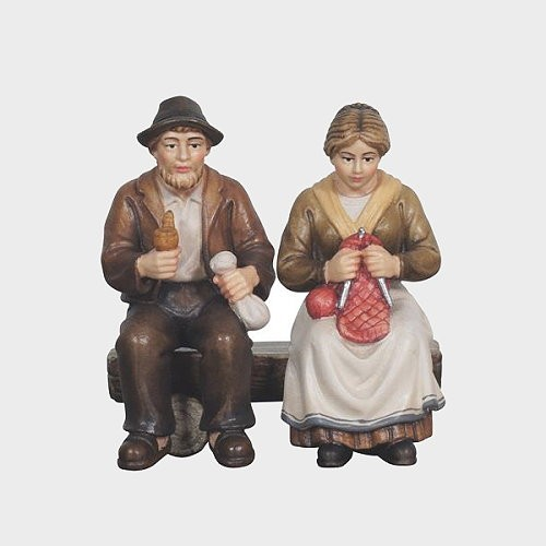 Mahlknecht 901 Krippenfigur Oma und Opa auf Bank