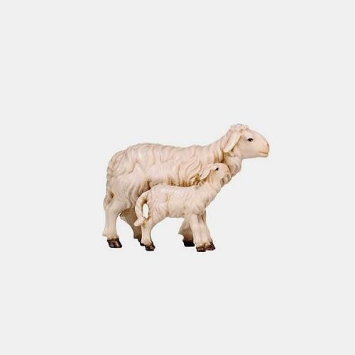 Handbemalte Kostner 279 Krippenfigur Schaf mit Lamm stehend