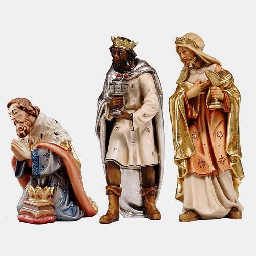 Handbemalte Kostner Krippenfigur Heilige 3 Könige aus dem Grödnertal.
