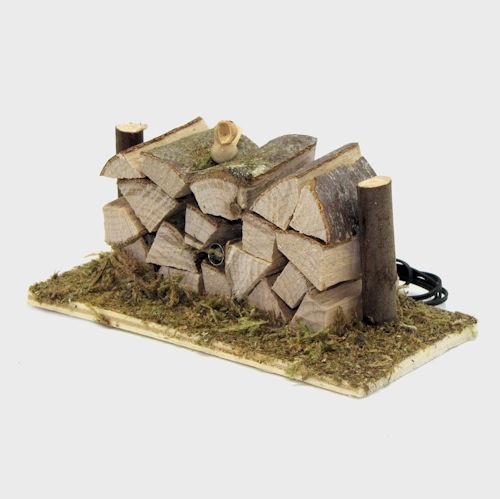 Krippenzubehör Holzstapel mit LED-Strahler