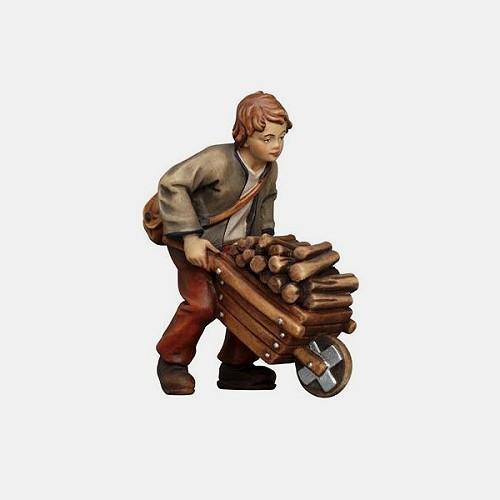Handbemalte Kostner 086 Krippenfigur Bub mit Holzkarren