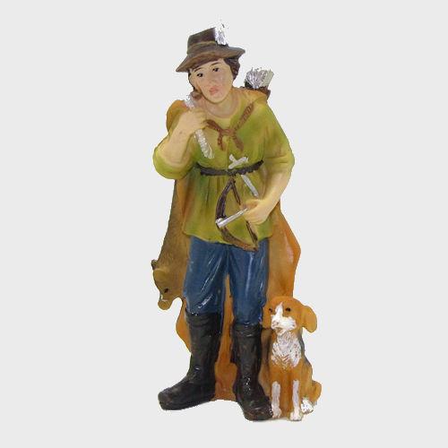 Krippenfigur Jäger mit Hund und Beute 11cm