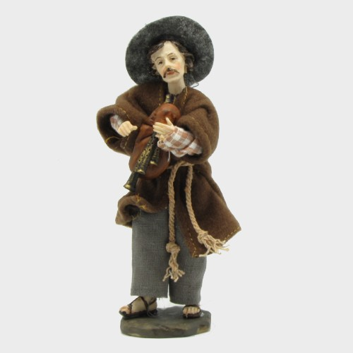 Krippenfigur Hirte mit Dudelsack bekleidet