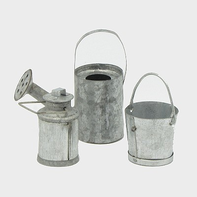 Krippendekoration Eimer-/Kannenset aus Metall