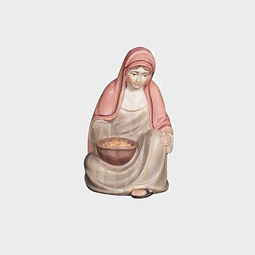 Advent 023 Krippenfigur aus Eschenholz Hirtin sitzend