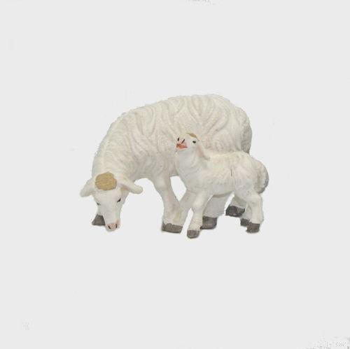 Zirbel 274 Krippenfigur Schaf äsend mit Lamm